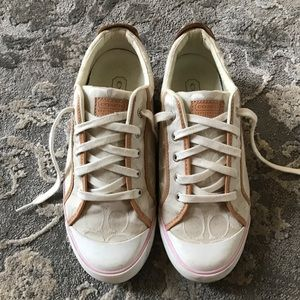 White & pink Coach sneakers